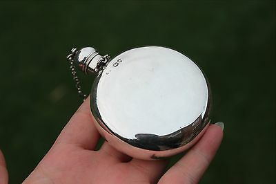 1879 Antique Victorian Circular Solid Silver Hip Flask (R1695)