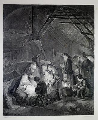Fine Large Antique 1875 Engraving Print ADORATION OF THE SHEPHERDS by REMBRANDT