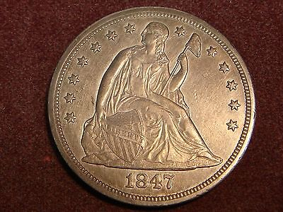 1847 Seated Liberty Silver Dollar AU details No Motto Type
