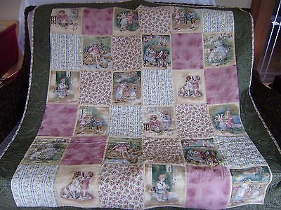 Handmade USA Quilt Squares Antique Look Machine quilted  44 x 50