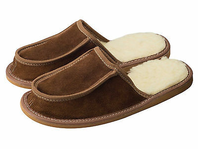Mens Sheepskin Slippers Mules Suede Leather Sheep Wool Lining Brown Size 7-12