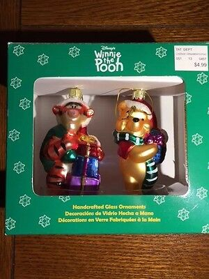 2002 Winnie the Pooh Handcrafted Glass Ornaments Pooh and Tigger