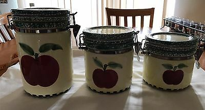 Set Of 3 Apple Print Ceramic Kitchen Canisters