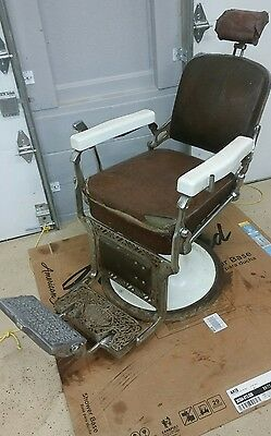 Vintage Koken Antique Barber Chair with Head Rest