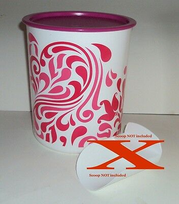 New TUPPERWARE 12 c Cookie Canister Striped Fuchsia Pink Paisley Abstract Design