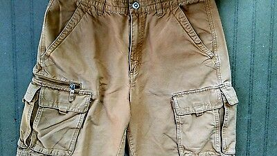 Columbia Cargo Shorts Mens 32 Orange Solid Flat Front Cotton Outdoor
