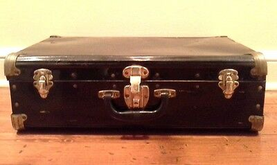 Vintage Black METAL SUITCASE, Case, Trunk With Gold Metal Corners and Latches