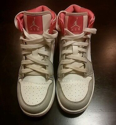 NIKE AIR JORDAN 1 One Mid White/Pink/Silver Shoe [555112-109] (Youth) Size 7
