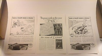 Vtg Ad lot (3 ads) BRIGGS PIPE TOBACCO All from 1937