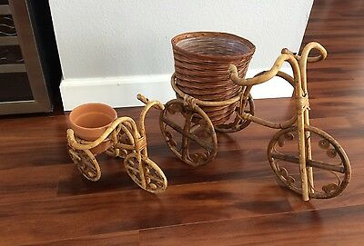 Vintage Curly Rattan Wicker Tricycle Planters Pair Garden Planters