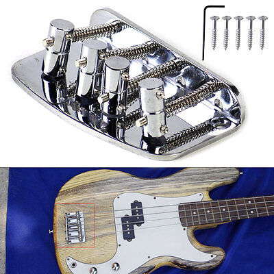 Silver Vintage 4 String Bridge For Squier Fender Precison Jazz Bass Guitar Parts