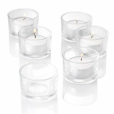 Set of 12 Tealight Candle Holder Clear Glass