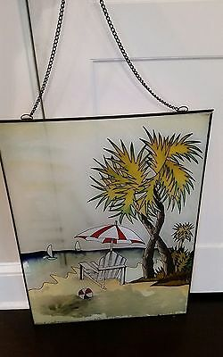 "18"" x 24"" Sailboat Boat Seashore Ocean Beach Chair leaded stained glass window"