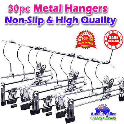 30pc Clothes Wardrobe Metal Steel Clip Clamp Hangers Pants Skirts Coat Trouser