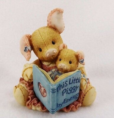 Adorable Vintage 1994 Enesco This Little Piggy Figurine-#124575 Mom Reading Book
