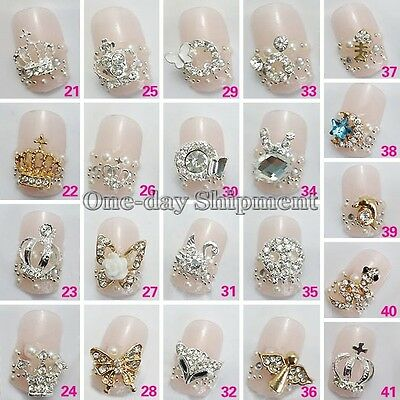 3D Nail Art Alloy Decoration Bling Rhinestone Charm Glitter Tips DIY 10/50 Pcs