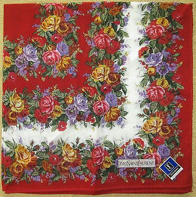 YVES SAINT LAURENT *Red Flower Scarf Handkerchief 48cm /TOKUSHA