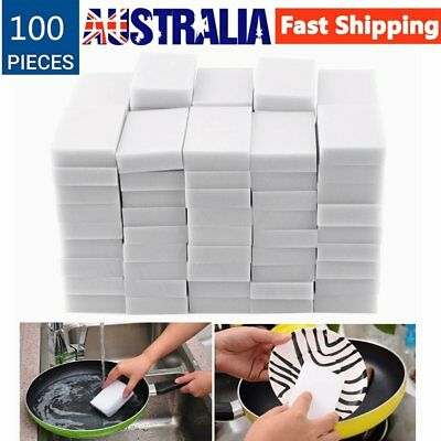 100pcs White Multi-functional Magic Sponge Eraser Cleaner 100 x 60 x 15mm E5