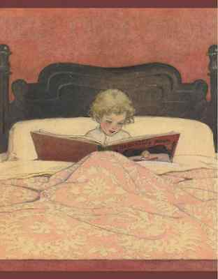 Postcard: Vintage Repro - Child w/ Curly Hair Reads Book in Cozy Bed - Bedtime