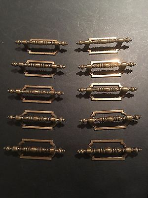 """Vintage Set Of 10 Brass Distressed Drawer Pull Handle Cabinet Handle 3"""" Centers"""