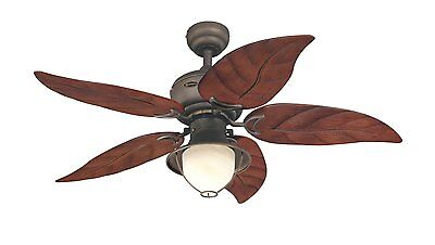 Ceiling Fan Indoor/Outdoor Light Leaf 5 Blades 3 Speed 48 Inch Quiet Oil Rubbed