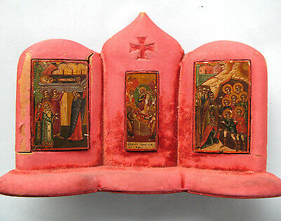 Very Rare 1810-1825 Imperial Russian Miniature Icons In Wooden Casing