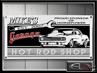Hot Rod Camaro Banner Custom Name Garage Sign Muscle Car