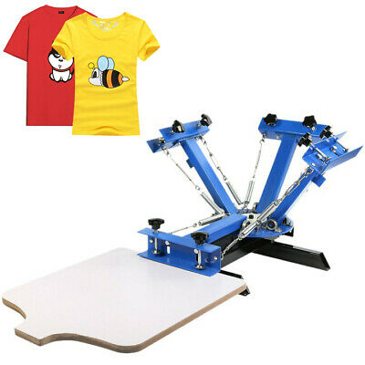 4 Color 1 Station Silk Screen Printing Machine Cutting Pressing Printer GREAT
