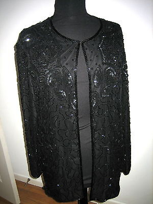 JMD New York Vintage Black Beaded Silk Jacket Size 1X