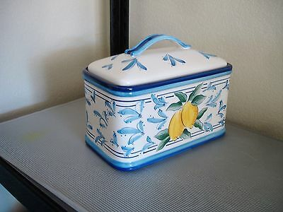 Ceramic Bread Box + Cover by Inspirado Stonelite Seattle USA Lemons Blue Floral