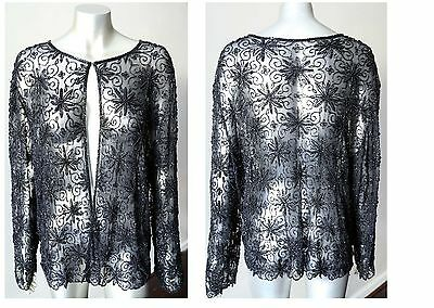 Beaded Trophy Sheer Cocktail Party Black Cardigan Top Blazer Jacket Sz L