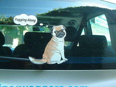 Pug Dog Lover Car Sticker Novelty Gift Collectable With Wiper Wagging Tail