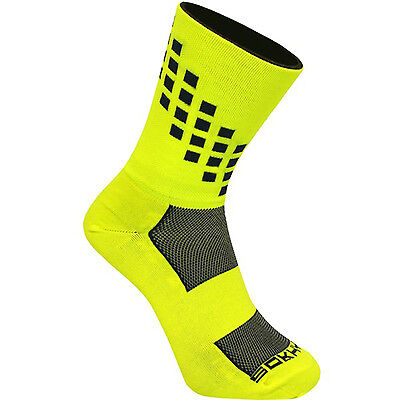 "Sokhyte The Business Bike Riding Socks 6"" Size 39-43 euro NEON YELLOW on BLACK"
