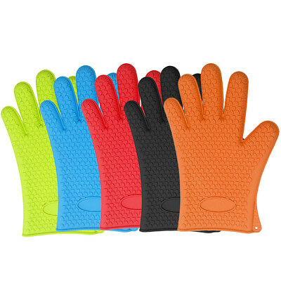 2 x Kitchen Oven Glove BBQ Cook Mitts Heat Resistant  Baking  Multi Colours