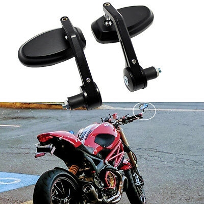 "Motorcycle Black 7/8"" Handle Bar End Mirror For Ducati Monster Street Fighter Uk"