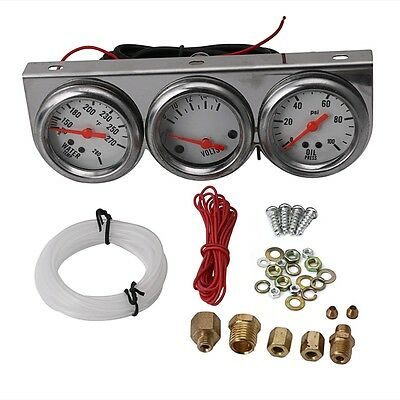 "2"" Universal Oil Pressure Water Volt Voltage Triple Gauge Chrome Panel"