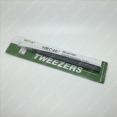 ESD Safe Stainless Steel Precision Tweezers for PCB Repairs, Retail Packaged