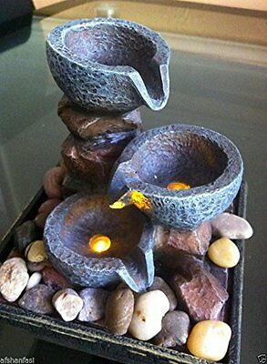 Indoor Battery Powered Tabletop Stone Effect Water Feature Fountain Waterfall