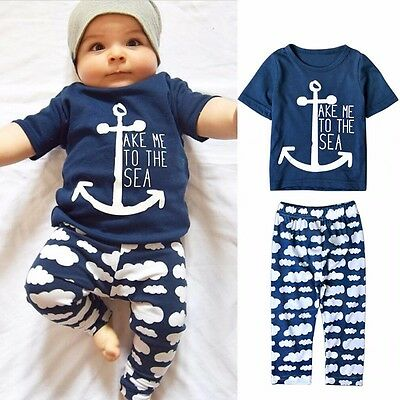 2pc Toddler Infant Baby Boy Girl Clothes T-shirt +Legging Outfit Set Size 000-2