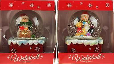 Set Of 2 Christmas Snowman Snow 8cm Globe Water Ball - Presents