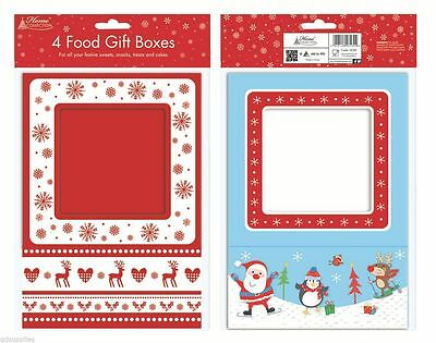 4 Christmas Food Presentation Gift Boxes Box For Cupcakes Muffin Cake Sweets