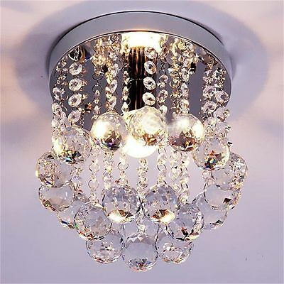 Crystal Droplets Silver Chrome Ceiling Pendant Light Chandelier Fitting Lamp  Q#