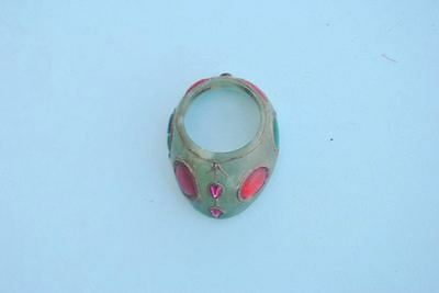 Vintage Indo Persian Mughal Islamic Rare Green Jade jewelled Thumb Archer Ring