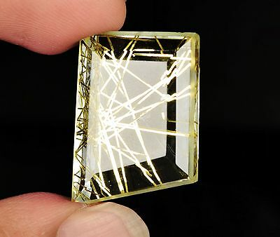 36 ct Sparkling Golden Crystal Rutilated Quartz Fancy Cut Egl Certified X-45