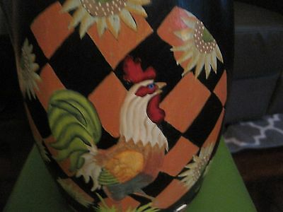 Hand Painted Roosters Sunflower Barrel 12 Ins High Black Green Orange