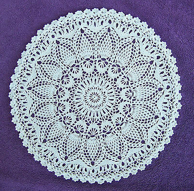 """Perfect Pineapple Doily Ecru 14 12"""" Hand Crocheted 100% Cotton New"""