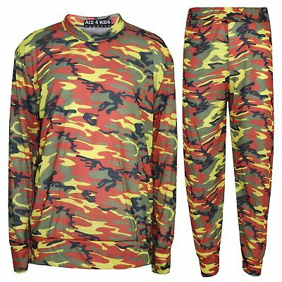 Kids Tracksuit Girls Camouflage Jogging Suit Tracksuit Hoodie Top Bottom 2-13