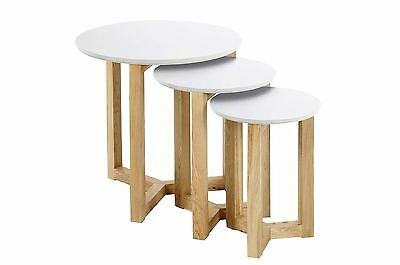 AC Design Furniture 0000046625Jennie White Lacquered Wood Top Nesting Table S...