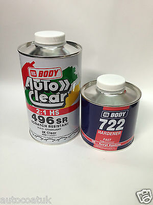 Hb Body Autoclear 496 (Scratch Resistant) 1L Lacquer & 500Ml 722 Fast Hardener