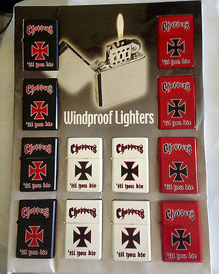 Lot of 12 Collectible Choppers Refillable WIndproof Lighters - NEW